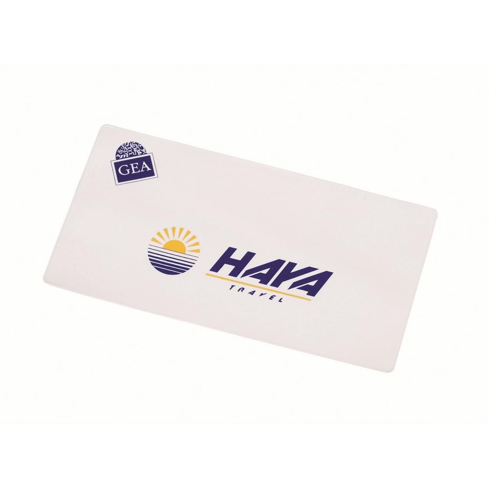 Porta billetes fabricado en PVC.